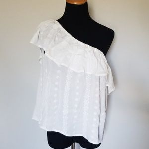 A. Byer White Flowy One Shoulder Blouse Large